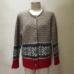 Eddie Bauer Sweater Cardigan Christmas Wool Nordic